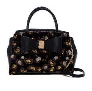 Betsey Johnson Evening Prowl Leopard Sequin purse